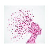 Breast Cancer Awareness Ribbon Woman Head Composition. Prints by  cienpies