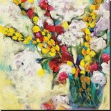 Echoes in Yellow & White Stretched Canvas Print by Georgia Eider
