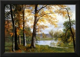 En stille sø Posters af Albert Bierstadt