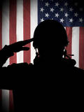 American (Usa) Soldier Saluting to USA Flag Fotografisk tryk af  Marko_Marcello
