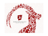 Chinese New Year of the Goat 2015 Greeting Card Prints by  cienpies