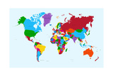 World Map, Colorful Countries Premium Giclee Print by  cienpies