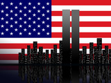 New York Silhouette against the Background of the American Flag Photographic Print by  STori