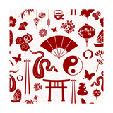 Chinese New Year of the Snake Pattern Poster by  cienpies