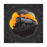 Vintage Background with Old Locomotive. Vector Illustration. Premium Giclee Print by  Rashomon