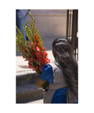 Woman and flowers Photographic Print by Keith Skelton