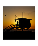 Life Guard at Beach Sunset Photographic Print by Thomas Soerenes