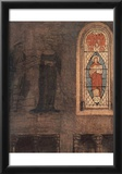 Jan van Eyck (Mary Annunciation, Detail: Stained glass windows and wall fresco) Art Poster Print Poster