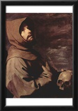 Francisco de Zurbarán (St. Francis meditators with skull) Art Poster Print Photo