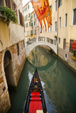 Italy, Venice, Gondola in Canal, Venetian Flag Photographic Print by Peter Gridley