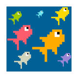 8-Bit Pixel Art Multicolored Fish, Seamless Background Tile Prints by  wongstock