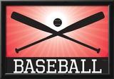 Baseball Red Sports Poster Print Prints