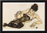 Egon Schiele (Woman with green stockings) Art Poster Print Photo