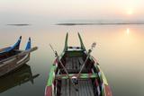 Boats at Sunrise, Amarapura, Mandalay Photographic Print by Peter Adams
