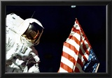 Moon Landing Astronaut with Flag Archival Photo Poster Print Prints