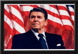 President Ronald Reagan (American Flag) Art Poster Print Posters