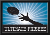 Ultimate Frisbee Blue Sports Poster Print Print