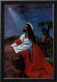 Black Jesus Christ Kneeling religious Print Poster Prints