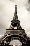 Amazing Eiffel Tower in Paris, France on Cloudy Day, Edited, Toned, Paris 2007 Photographic Print by Alexander Hafemann