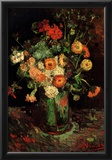Vincent Van Gogh Vase with Zinnias and Geraniums Art Print Poster Posters