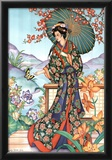 Asian Lady with Parasol Art Print POSTER lithograph Print