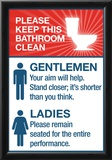 Clean Bathrooms Ladies Gentlemen Sign Art Print Poster Prints