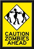Caution Zombies Ahead Sign Poster Print Photo