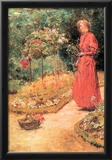 Childe Hassam Woman Cuts Roses in a Garden Art Print Poster Poster