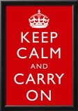 Keep Calm and Carry On (Motivational, Red) Art Poster Print Poster