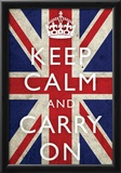 Keep Calm and Carry On (Motivational, Union Jack Flag) Art Poster Print Posters