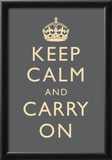 Keep Calm and Carry On Motivational Grey Art Print Poster Posters
