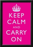 Keep Calm and Carry On Motivational Bright Pink Art Print Poster Poster