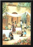 Mexican Girl Flower Stand Art Print POSTER south west Poster