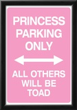 Princess Parking Only No Parking Pink Sign Poster Print Posters