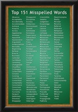 Top 151 Commonly Misspelled Words Educational Poster Poster