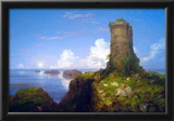 Thomas Cole Italian Coast Scene with Ruined Tower Art Print Poster Posters
