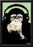 Steez Headphone Chimp - Green Art Poster Print Poster by  Steez
