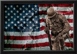 Solider Statue and American Flag by Identical Exposure Posters