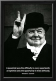 Pessimist Optimist Winston Churchill Quote Posters