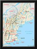 Michelin Official Northern New England Relief Map Art Print Poster Prints
