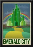 Emerald City Retro Travel Poster Prints