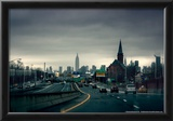 Rainy View of Manhattan from Long Island Expressway Prints