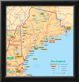 Michelin Official Northern New England Map Art Print Poster Photo