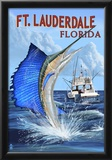Ft. Lauderdale, Florida - Sailfish Scene Poster