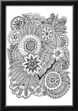 Black and White Floral Design III Print by Sara Gayoso