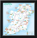 Michelin Official Regions of Ireland French Map Art Print Poster Photo