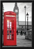 A Traditional Red Phone Booth In London With The Big Ben In A Black And White Background Photo