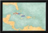 Map Of Caribbean - Cuba (Vintage Series) Print