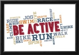 Active Fitness Word Cloud Collage Print