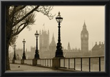 Big Ben And Houses Of Parliament, London In Fog Print